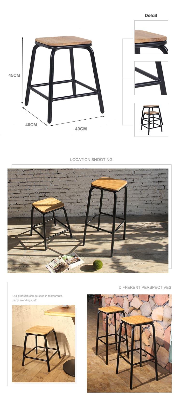 Sgabello da bar semplice Sgabello da bar in metallo con gamba in legno Sgabello 656-H75-STW (2)