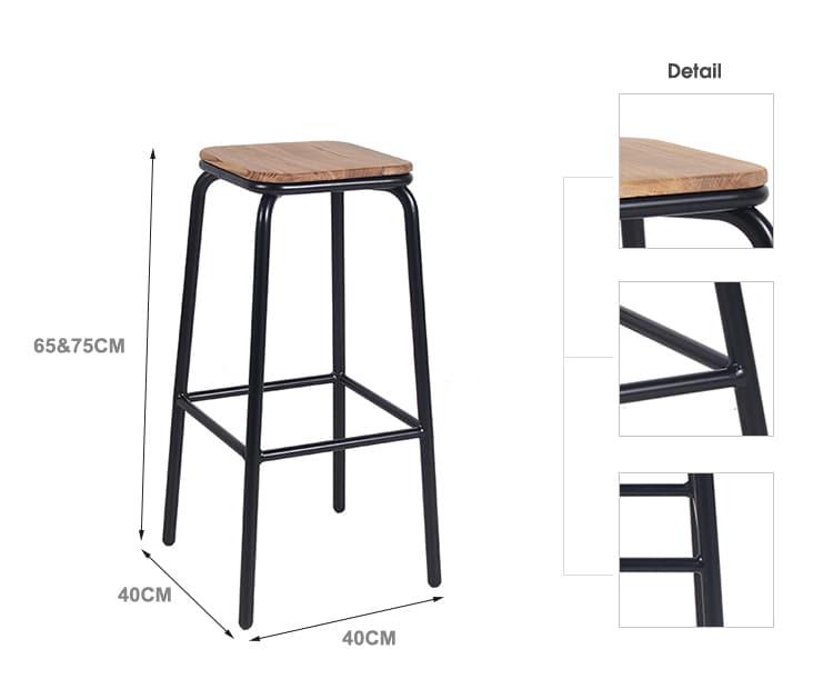 Sgabello da bar semplice Sgabello da bar in metallo con gamba in legno Sgabello 656-H75-STW (3)