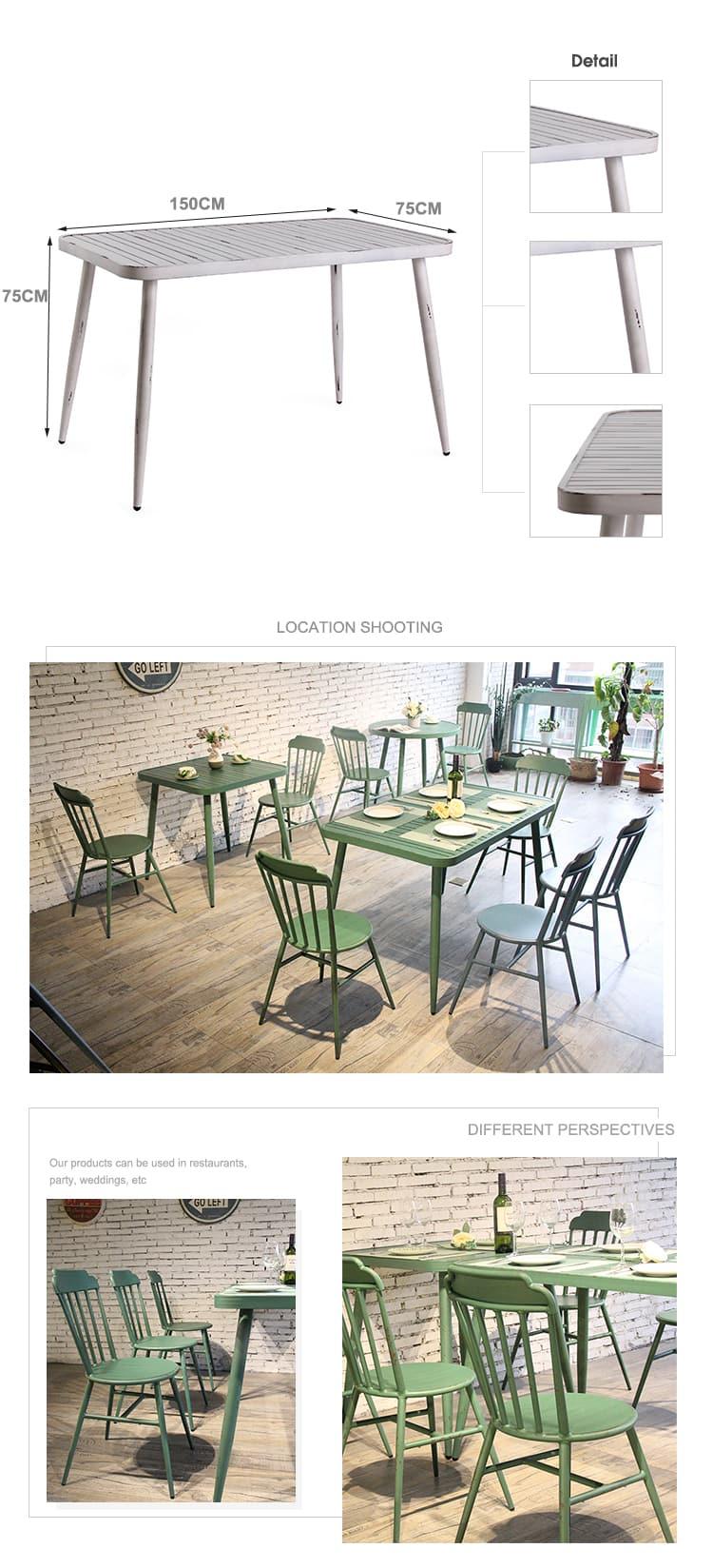 Patio de aluminio impermeable balcón mesa de jardín al aire libre 714DT-ALU-120