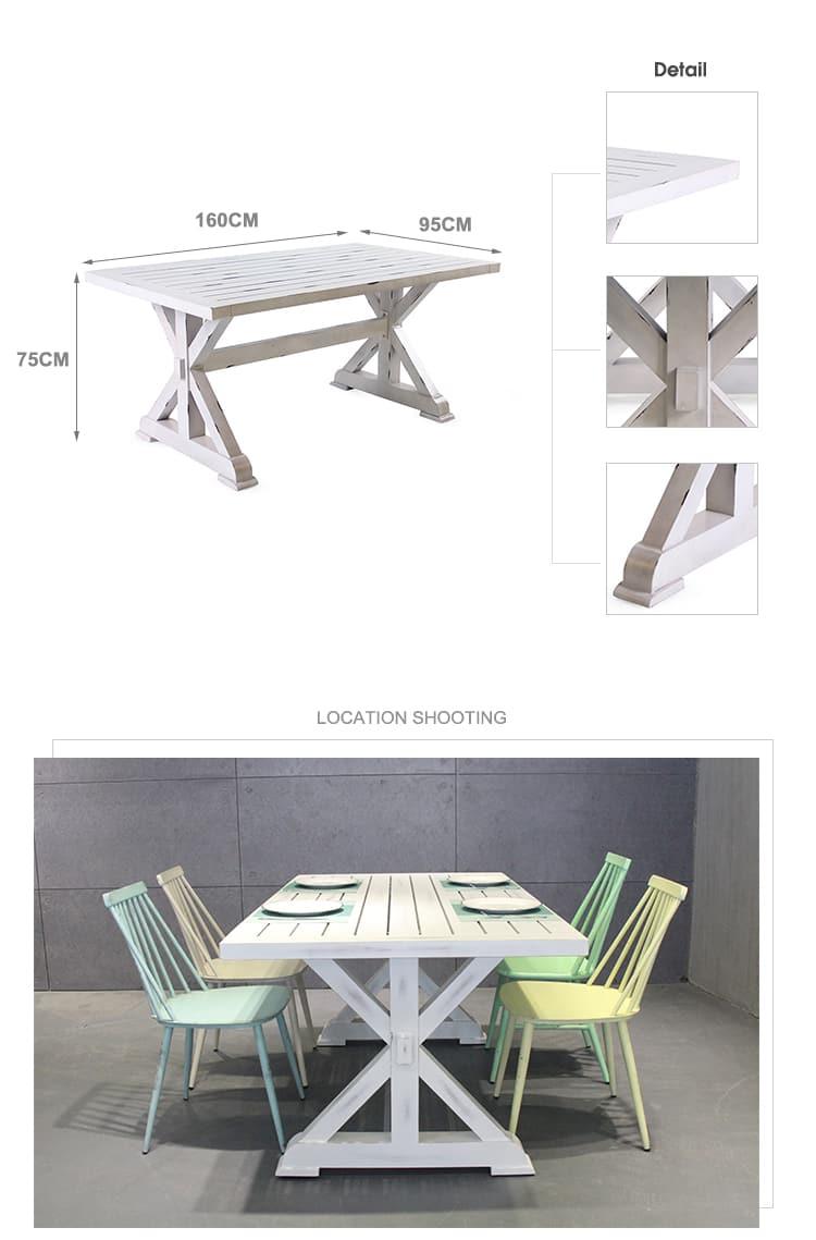 Tavolo da pranzo francese per interni ed esterni da giardino a 6 posti 731DT-ALU-RE160