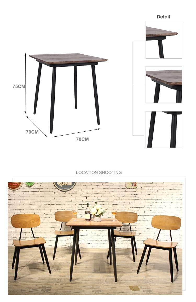 Tavolo industriale 658DT-STW-SQ70&658BT-STW-RE13060 della mobilia del caffè del ristorante della barra