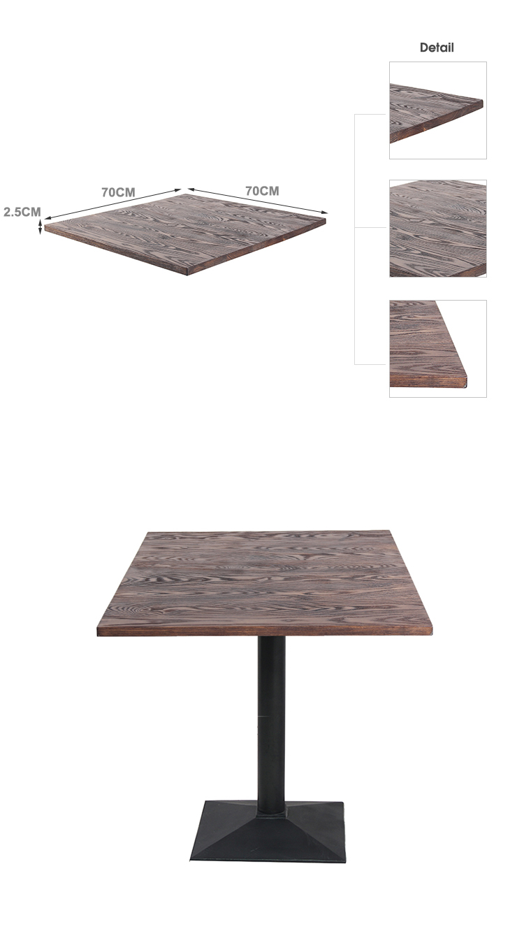 Mesa de madera de teca de roble de ceniza de EE. UU. Para restaurante Cafe TTAW-VW01-SQ70-25 (2)