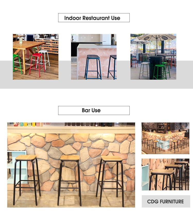 Sgabello da bar semplice Sgabello da bar in metallo con gamba in legno Sgabello 656-H75-STW (4)
