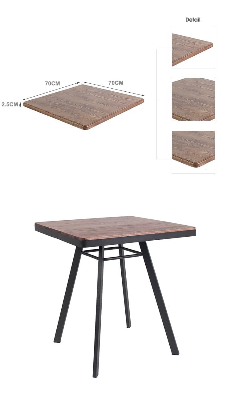 Comercio al por mayor Restaurante Café Bistro Tablero de madera maciza TTAW-LB-SQ70-25 (1)
