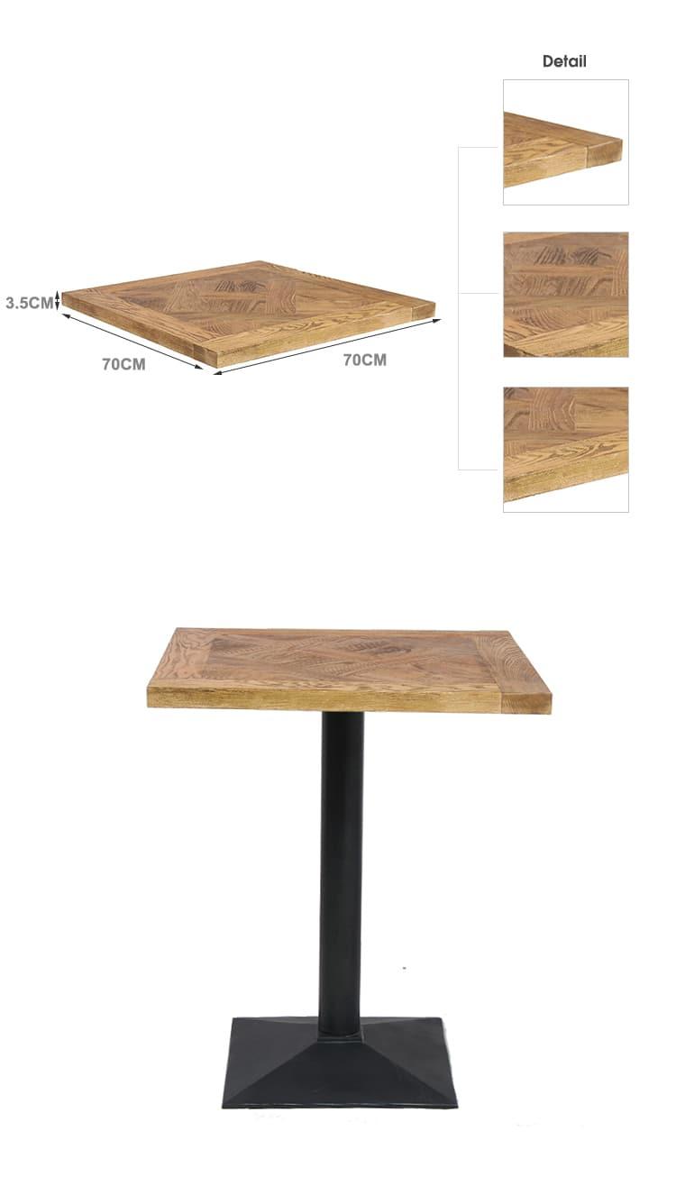 Francese antico rustico Bar Club WoodenTable Top TTAW-N02-SQ70-35 (1)