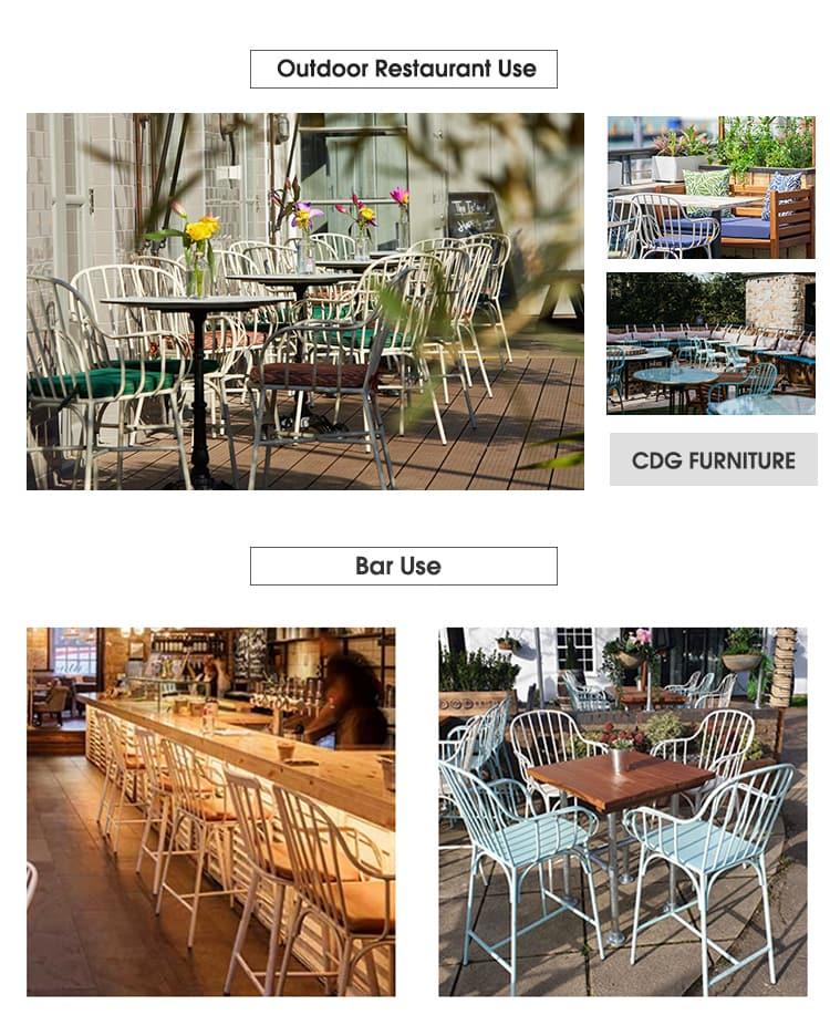Sedia da pranzo per bistrot da ristorante all'aperto con schienale in alluminio europeo 749 (M) S-H45-ALU (3)