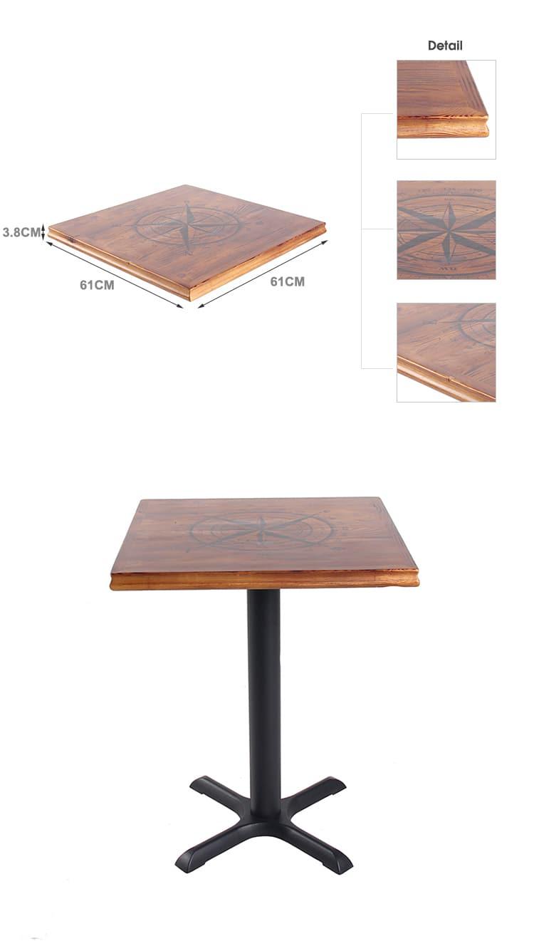 Prezzo di fabbrica Qualità Compass Pattern Tavolo in legno Top TTPW-FL-SQ61-38 (3)