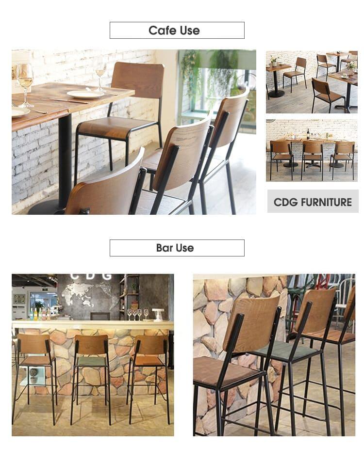 Sedia da pranzo impilabile con schienale in compensato industriale vintage con seduta in pelle PU 822-H45(78)-STWPU