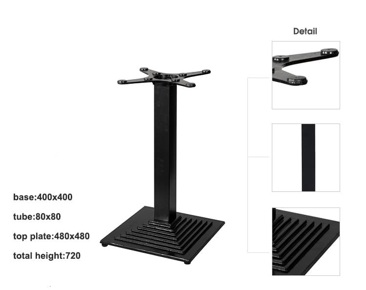 Pata de mesa de diseño francés estándar de estilo industrial negro mate TBIR-06 (1)